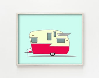 "vintage trailer decor, vintage camper decor, mid century modern art, mid century modern decor, wall art prints, blue art - ""Shasta Airflyte"""