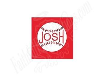 Baseball with name car window decal