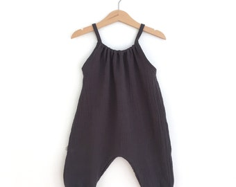 Combination double gauze cotton for baby and child - long romper with straps - 4 colors to choose
