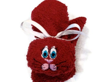 Bunny Washcloth Ice Pack Embroidered Boo-boo Bunny Rabbit Dark Red / Maroon