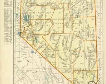 Vintage Map Nevada from 1937 Original