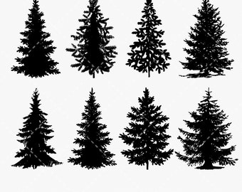Tree Clip art, Pine Tree Digital clipart, Festive Christmas Tree, Xmas, pine, tree, Christmas - Commercial & Personal - Instant Download