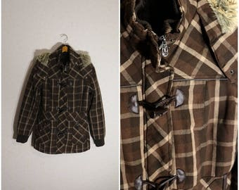 Jacket Womens Winter Jacket brown cell Jacket Womens with a hood Small Size