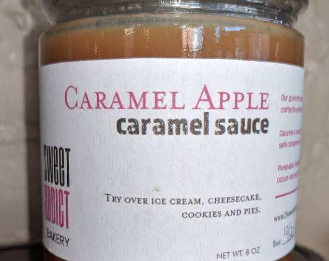 Caramel Apple Caramel Sauce - great for ICE CREAM sundaes, dipping FRUIT, cheesecakes, gifts, cupcakes, pies, perfect flavor combination