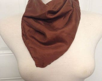 Vintage Women's Scarf Brown 100% Silk By Ashear Made In Italy