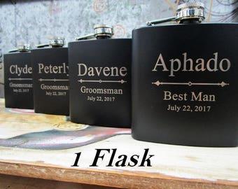 Personalized Flask Groomsmen Gift - Groomsmen Flask Set - Gift for Groomsmen - Monogram Flask - Custom Flask Set for Groomsmen, Black Flask