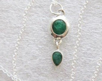 Necklace ~ Indian Emerald Sterling  Silver pendant  Sterling Chain