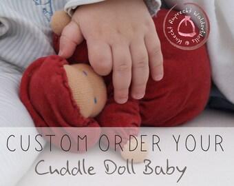 Custom made - Waldorf Doll - Cuddle Baby Doll according to waldorf pedagogy - Waldorfdoll