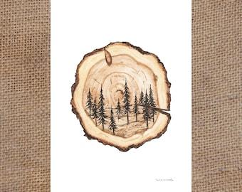 Wood Slice Scene - Watercolor Print