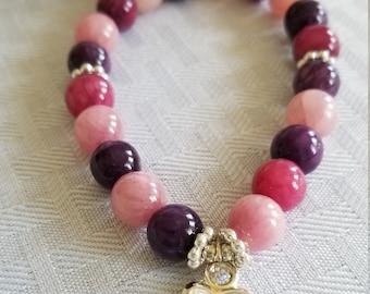 Multi color Agate Bracelet, Healing Crystals, Meditation/Yoga Bracelet, Stretch Bracelet, Wrist Mala, Gift For Her, Beaded Bracelet