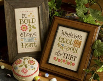 LIZZIE*KATE Be Bold and Brave counted cross stitch patterns at thecottageneedle.com graduation pincushion sayings