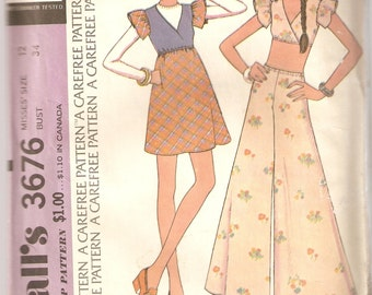 VINTAGE McCall's Sewing Pattern 3676 - Women's Clothes - Misses Dress, Top & Pants, Size 12