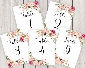 Wedding Table Numbers Printable, 5X7 Table Numbers Wedding #1-5, Instant Download, Table Numbers, Printable Table Numbers, Vintage, B120