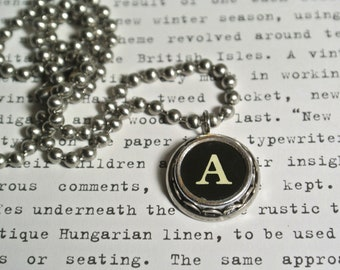 Typewriter Letter Necklace, Personalized Initial, Authentic Letter Typewriter Key Necklace, Great Gift, A to Z available By UPcycled Works