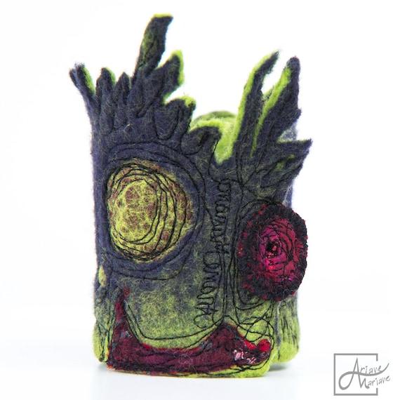 Fancy wearable art Bracelet - high fun bubbling felt design. Sculptural textile art cuff. Purple green red woman accessory made in Paris