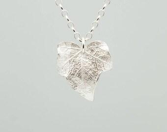 Ivy leaf pendant- sterling silver