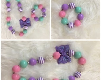 Chunky Bead Neaklace For Photos, Special Occasions, Birthdays: Light Purple, Light Aqua, Pink ; These Are Ready To Ship