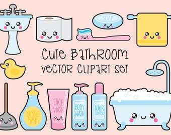 Premium Vector Clipart - Kawaii Bathroom Clipart - Kawaii Bathroom Clip art Set - High Quality Vectors - Instant Download - Kawaii Clipart