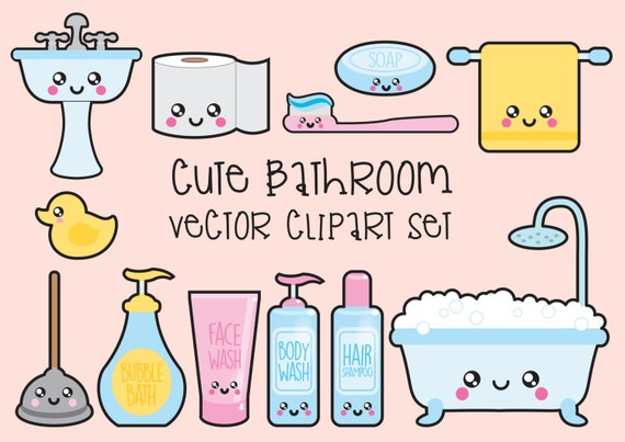 Premium Vector Clipart   Kawaii Bathroom Clipart   Kawaii Bathroom Clip Art  Set   High Quality Vectors   Instant Download   Kawaii Clipart