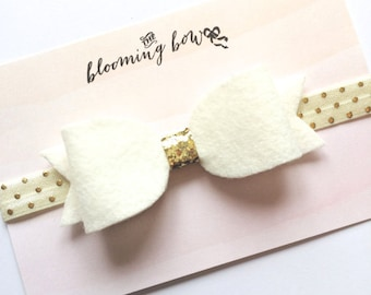 Ivory and Gold Felt Headband Baby Toddler Hair Bow