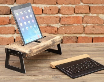 Wooden iPad Docking Station, Industrial iPad Charging Station, Tablet Wood Stand, iPad Dock, Office Organizer, Unique Gift, Recycled Wood