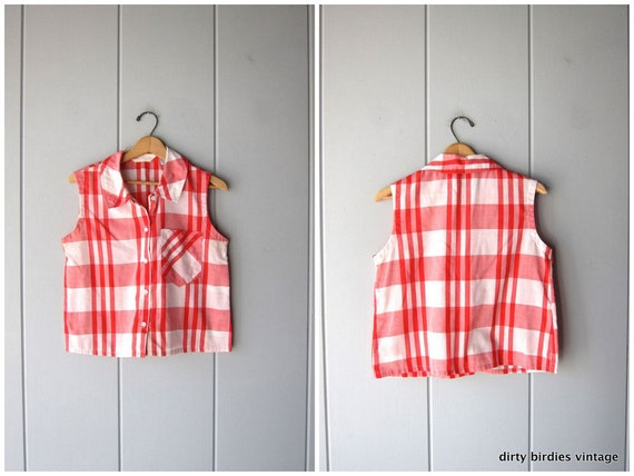 90s Plaid Crop Top Boxy Cotton Picnic Tee Button Up Red White Checkered Hipster Shirt Sleeveless Blouse Womens Medium