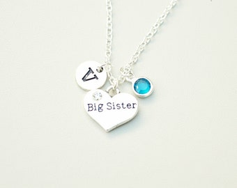 Big Sister Gift, Sister Gift, Big Sister Necklace, Big Sister pendant, Big Sister Charm, Big Sis, Lil Sis, Personalized Sister Gift,Birthday