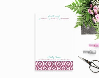Personalized Notepad for Mom, Ikat Stationery, Stylish Mom Notepad, From the Mom of Notepad, Personalized Stationery for Mom, Gift for Mom