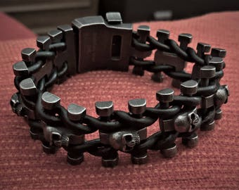 Black Genuine Leather With Stainless Steel Skulls Wristband