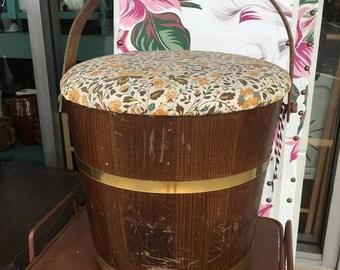 35% OFF SALE Retro wooden sewing bucket storage farmhouse craft bin wooden bucket