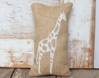 The Charming Giraffe  -   Burlap Doorstop -  Safari Decor - Zoo Animals - Animal Print - Giraffe Doorstop