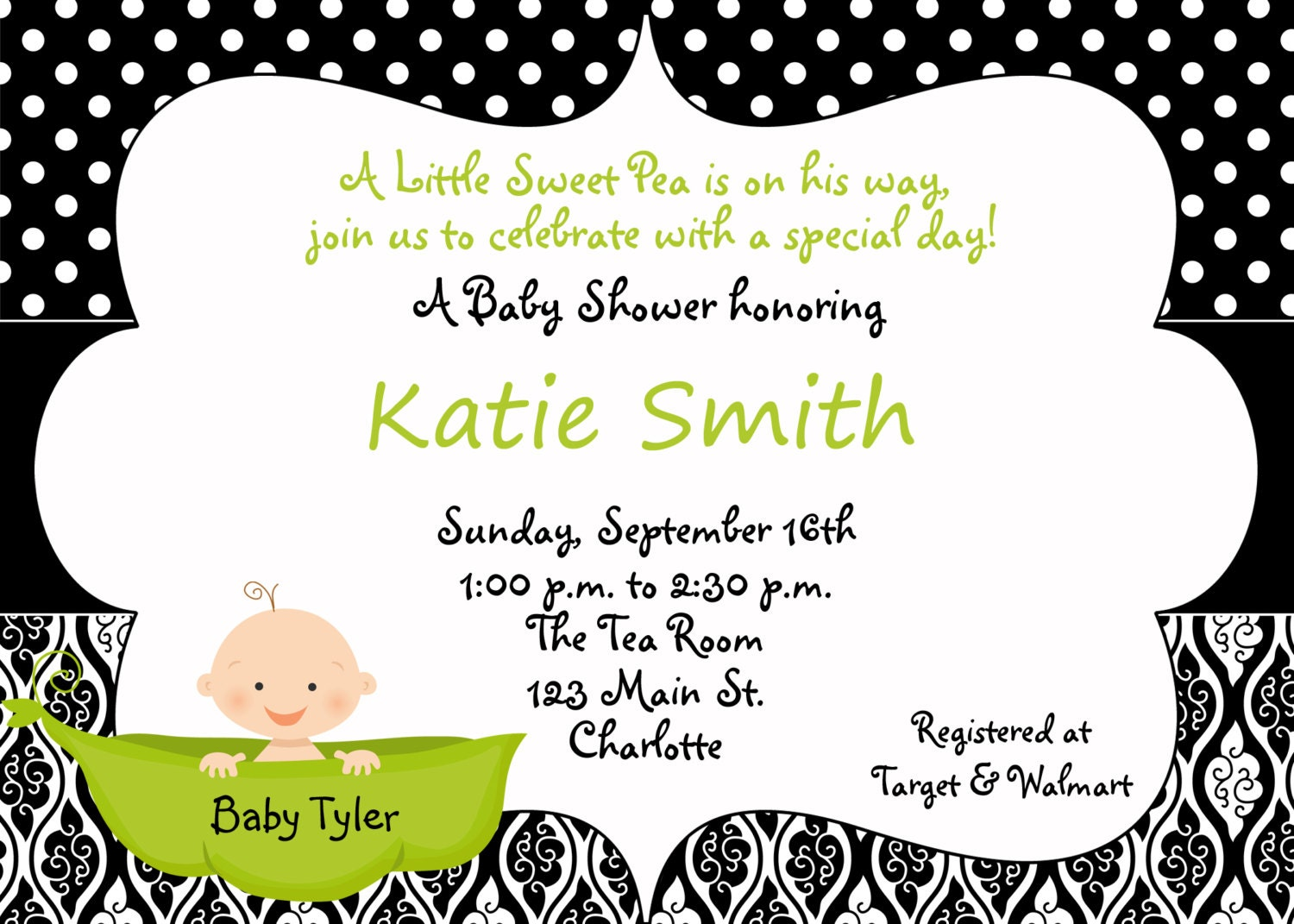 Pea in a pod Baby shower invitation sweet pea black and