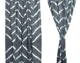 Tie Dye Bohemian Curtains, Boho Decor, Beach Curtains, Gray And White  Curtains,