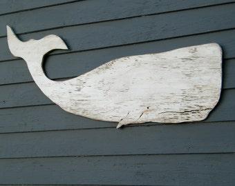 Baleine blanche Moby Dick Supersized baleine bois Art populaire signe décor nautique baleine en bois découpe