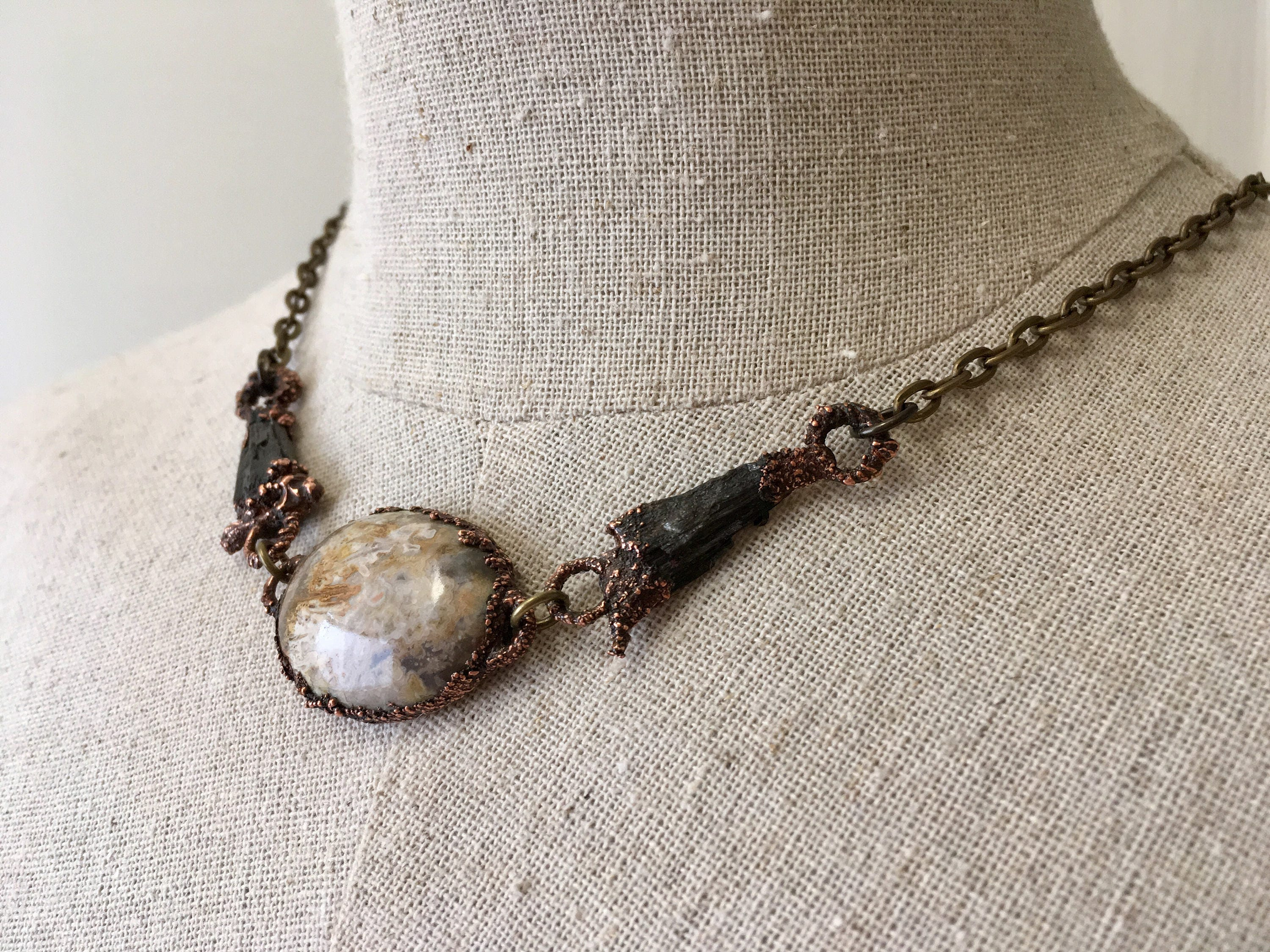 Electroformed Necklace Electroformed jewelry Gold Moss Agate and