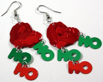 Christmas Earrings Santa Claus Earrings HO HO HO Dangles Red & Green Confetti Plastic Sequin Jewelry