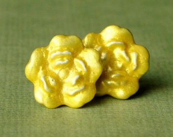Miniature Metallic Yellow Rose Stud Earrings - Sunny Golden Yellow Rosebud Studs - Yellow Carnation Earrings - Yellow Carnations- Friendship