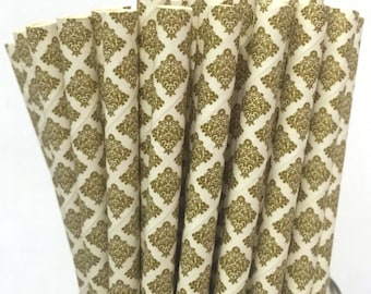 2.85 US Shipping -Gold Damask Paper Straws -  Gold Straws- Cake Pop Sticks