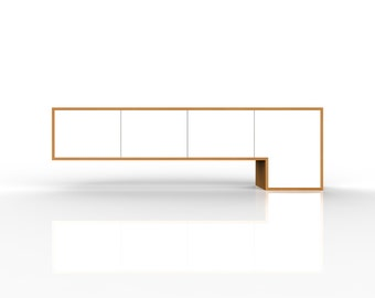 L180 Sideboard - Free Shipping SA, VIC & NSW - Modern asymmetric entertainment unit. Tv cabinet, console table. Contemporary furniture Oak