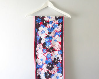 Vintage Floral Scarf | 1960s Bold Floral Print Hair Neck Scarf