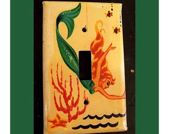 retro mermaid single  switchplate 1950's pin up rockabilly vintage nautical light switch plate