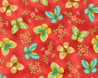 All a Flutter  Butterflies Tomato Fabric