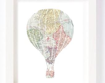 Printable - Hot Air Balloon Vintage World Map Kid Playroom Travel Nursery Wall Art Print digital design diy instant download