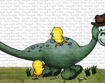 Dino And Ducklings  Digital Stamp by Sasayaki Glitter line art only