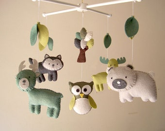 "Baby crib mobile, forest mobile, animal mobile , felt mobile ""Forest friends 11"" - Deer, Owl, Bear, Fox, and Moose."