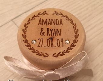 Engraved personalised wooden wedding ring box with satin ribbon and inlaid genuine Austrian crystals
