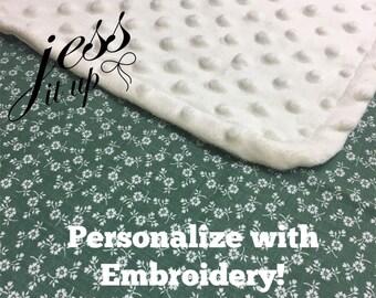 Shabby Chic Baby Blanket, Vintage Floral Blanket, Sage Baby Blanket, Custom Minky, Personalized Embroidery Blanket, Stroller Blanket