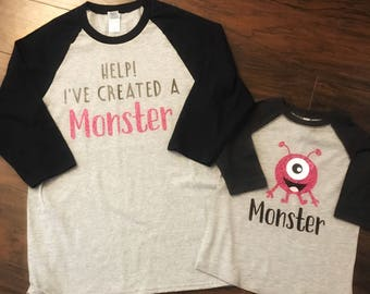 Help! I've created a monster mommy/daddy and me t shirt or raglan shirt sets