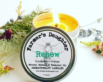 BEESWAX AROMATHERAPY Candle, RENEW- Eucalyptus & Orange Candle in Tin- Pure Beeswax, Essential Oil Candles- Farmer's Daughter Candles