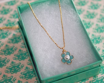 Blue Flower Necklace, perfect for an Easter basket, Confirmation, flower girl, special keepsake gift!